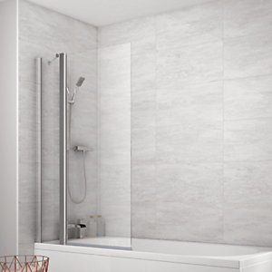 Wickes Semi Framed Fixed Square Bath/Shower Screen - 1400 x 900 mm