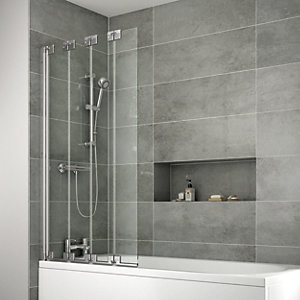 Wickes Semi Framed Four Fold Bath/Shower Screen - 1500 x 845 mm