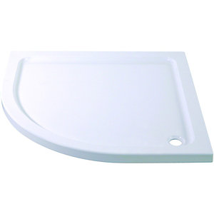 Wickes Quadrant Slimline White Cast Stone Shower Tray - 900mm