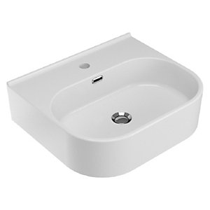 Wickes Siena White 500mm Bathroom Basin with 1 Taphole