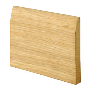 Wickes Chamfered Oak Veneer MDF Skirting - 15mm x 120mm x 2.4m Pack of 2