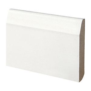 Wickes Dual Purpose Chamfered/Bullnose Primed MDF Skirting - 14.5mm x 94mm x 2.4m Pack of 5
