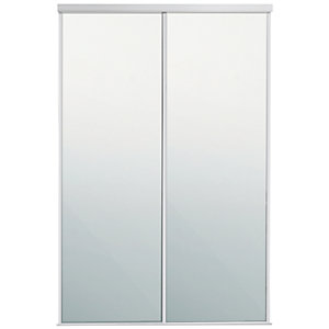 Spacepro Sliding Wardrobe Door White Framed Mirror Twinpack - 2260mm x 610mm
