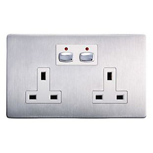 Energenie Mihome Radio Controlled Smart Double Socket - Steel