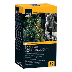 Cole & Bright 50 Bulb Solar String Light