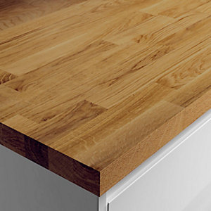 Wickes Solid Wood Breakfast Bar - Dark Oak 900 x 38mm x 2m