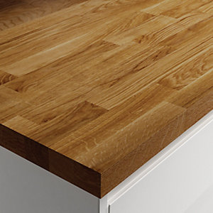 Wickes Solid Wood Worktop - Dark Oak 600 x 38mm x 3m