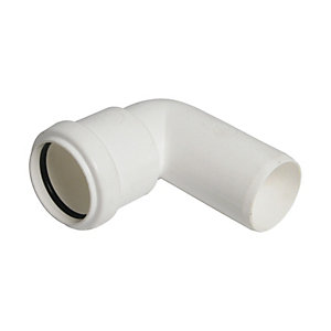 FloPlast WP26W Push-fit Waste 90 Deg Conversion Bend - White 32mm