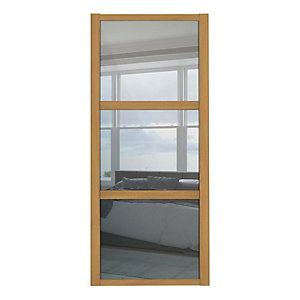 Spacepro Shaker 3 Panel Oak Frame Mirror Door