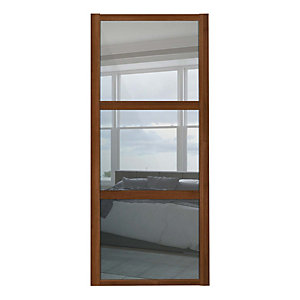 Spacepro Shaker 3 Panel Walnut Frame Mirror Door