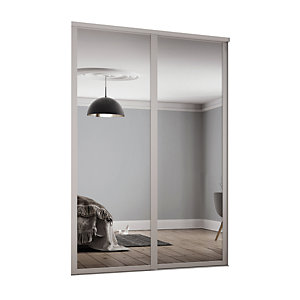 Spacepro Shaker Style 2 Cashmere Frame Mirror Sliding Wardrobe Door Kit