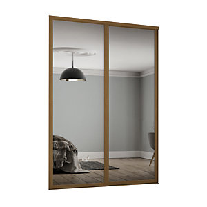 Spacepro Shaker Style 2 Oak Frame Mirror Sliding Wardrobe Door Kit
