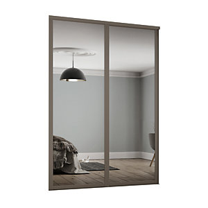 Spacepro  Shaker Style 2 Stone Grey Frame Mirror Sliding Wardrobe Door Kit