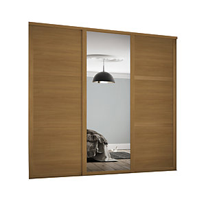 Spacepro Shaker Style 3 Oak Frame 3 Panel & Mirror Wardrobe Door Kit