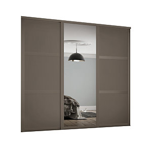 Spacepro Shaker Style 3 Stone Grey Frame 3 Panel & Mirror Wardrobe Door Kit