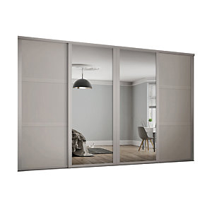 Spacepro Shaker Style 4 Cashmere Frame 3 Panel & Mirror Wardrobe Door Kit