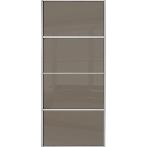Spacepro Sliding Wardrobe Door Silver Framed Four Panel Cappuccino Glass