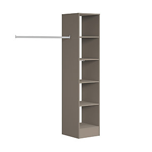 Spacepro Wardrobe Storage Kit Tower Unit - Stone Grey