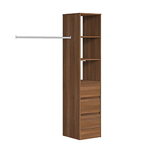 Spacepro Wardrobe Storage Kit Tower Unit with 3 Drawers - Walnut