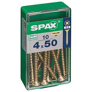 Spax PZ 50mm Countersunk Zinc Yellow Screws - Pack of 10
