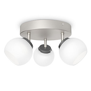 Philips Balla Matt Chrome Frosted Glass LED Bar Triple Spotlight - 4W