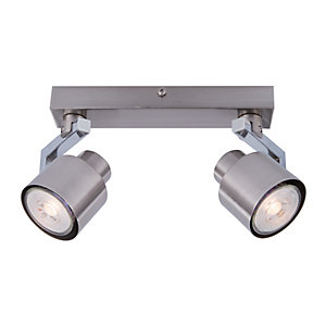 Ceiling lights lighting decorating interiors wickes wickes boulevard led brushed chrome 2 bar spotlight 2 x 53w aloadofball Image collections