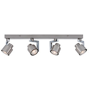 Ceiling lights lighting decorating interiors wickes wickes boulevard led brushed chrome 4 bar spotlight 4 x 53w aloadofball Image collections