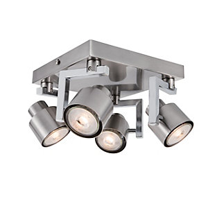 Ceiling lights lighting decorating interiors wickes wickes boulevard led brushed chrome 4 plate spotlight 4 x 53w aloadofball Image collections