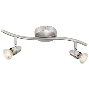 Ceiling lights lighting decorating interiors wickes wickes bullet led brushed chrome 2 bar spotlight 2 x 35w aloadofball Image collections