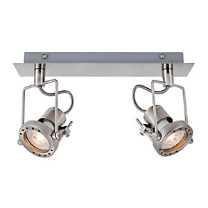 Ceiling lights lighting decorating interiors wickes wickes studio led brushed chrome 2 bar spotlight 2 x 53w aloadofball Image collections