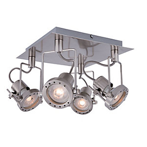 Ceiling lights lighting decorating interiors wickes wickes studio led brushed chrome 4 plate spotlight 4 x 53w aloadofball Image collections