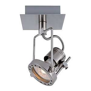 Ceiling lights lighting decorating interiors wickes wickes studio led brushed chrome single spotlight 53w aloadofball Image collections