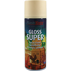 Plastikote Super Spray Paint - Gloss Antique White 400ml
