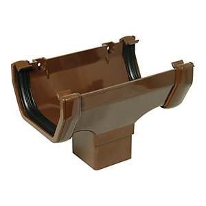 FloPlast 114mm Half Square Line Gutter Running Outlet - Brown