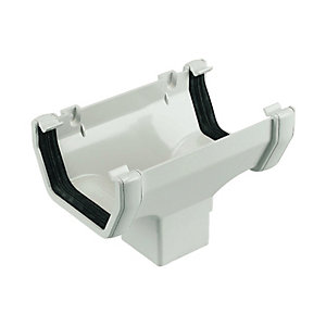 FloPlast 114mm Half Square Line Gutter Running Outlet - White