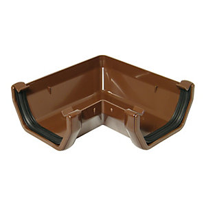 FloPlast 114mm Square Line Gutter Angle 90° - Brown