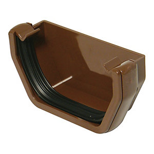 FloPlast 114mm Square Line Gutter External Stopend - Brown