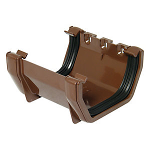 FloPlast 114mm Square Line Gutter Union Bracket - Brown