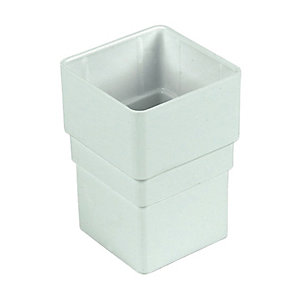 FloPlast 68mm Square Line Downpipe Pipe Socket - White