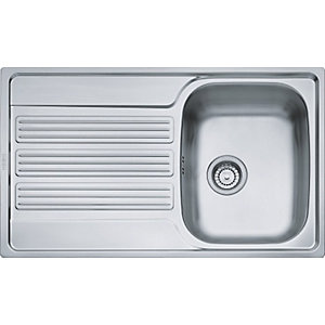 Franke Galileo 1 Bowl Reversible Kitchen Sink with Drainer - Stainless Steel
