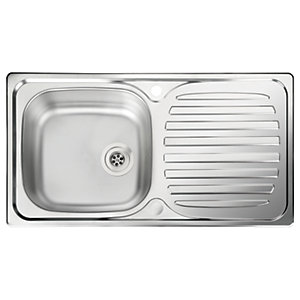 77d091d73a Leisure Linear Compact 1 Bowl Reversible Inset Kitchen Sink - Stainless  Steel - 860 x 435