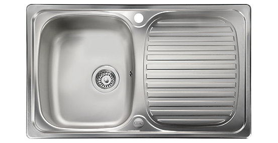 Leisure Linear Compact 1 Bowl Reversible Inset Kitchen Sink 800 X 508