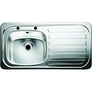 Wickes 1 Bowl Kitchen Sink U0026 Right Hand Drainer   Stainless Steel