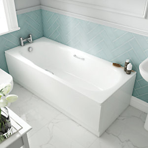 Wickes Avaris Enamel Coated Steel Straight Bath - 1500 x 700mm