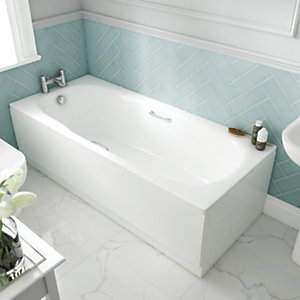 Wickes Avaris Enamel Coated Steel Straight Bath - 1600 x 750mm
