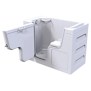 Wickes Serenity Left Hand Straight Wide Door Easy Access Bath - 1300 x 750mm