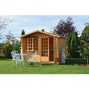 Shire 10 x 10 ft Sandringham Apex Double Door Summer House with Bay Window