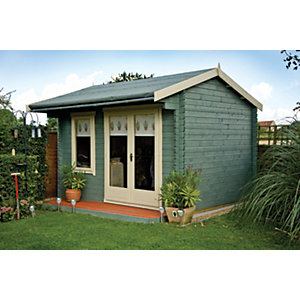 Shire 14 x 12 ft Large Marlborough Double Door Garden Summerhouse with Canopy