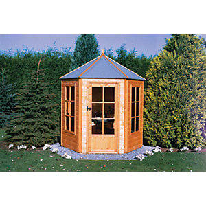 Shire 7 x 6 ft Gazebo Style Apex Dip Treated Six Sided Summerhouse