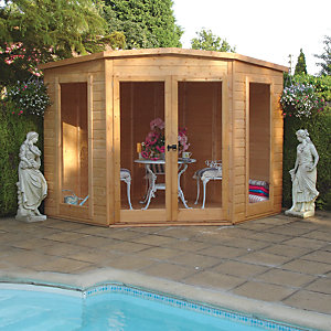 Shire 7 x 7 ft Barclay Pent Double Door Dip Treated Corner Summerhouse